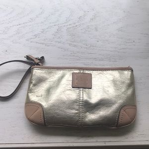 Gold coach wristlet/ small purse